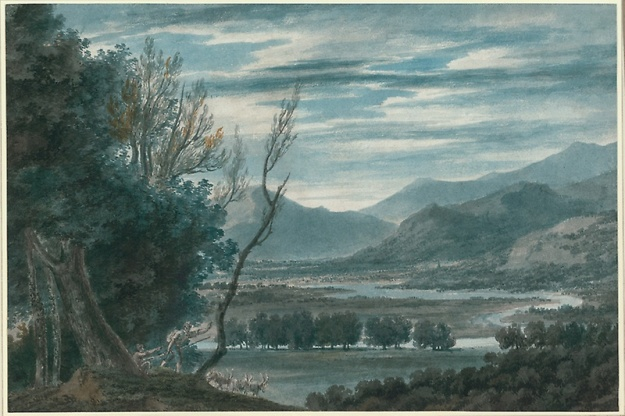 JR Cozens The valley of the Eisak Near Brixen in the Tyroll