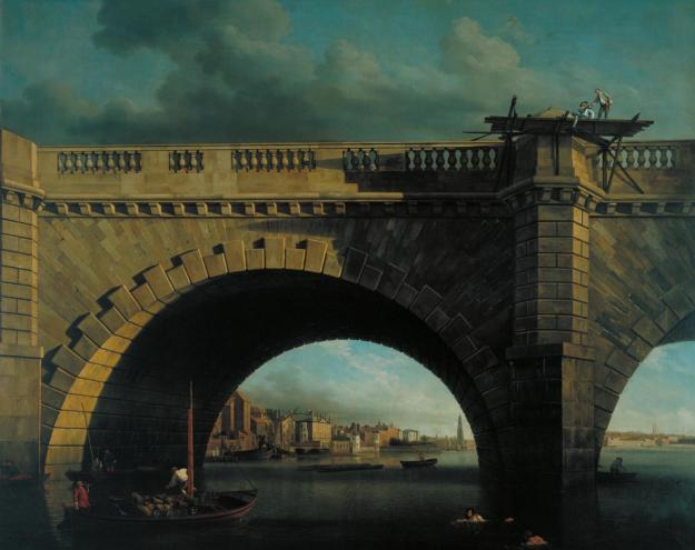 An Arch of Westminster Bridge c.1750 by Samuel Scott c.1702-1772