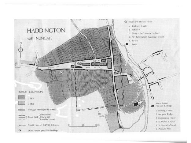 Map of haddington showing siege locations
