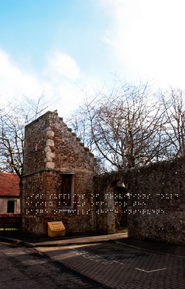 Jacobean dovecot. Boarded up and abandoned. Quote taken from historical figure shown in Braille