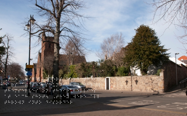 Modern Haddington West crossroad. Quote taken from historical figure shown in Braille