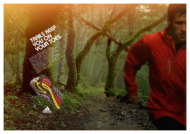 Trail running shoe advert by Adidas. A man in a red top runs through a forest trail.